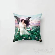 Lotus Faerie Water Nymph Cushion Cover Pillow by GingerKellyStudio Water Nymphs, Illustration Art, Illustrations, Cover Pillow, Faeries, Lotus, Christmas Stockings, Fantasy Art, Cushions