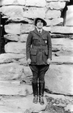 Polly Mead Patraw was the first female ranger-naturalist at the Grand Canyon. Here she is dressed in her uniform in 1931. (NPS/History By Zim)