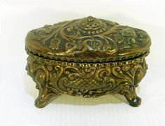 Vintage VICTORIAN JEWELRY BOX - Metal with Red Velvet Lining - Free Shipping via Etsy
