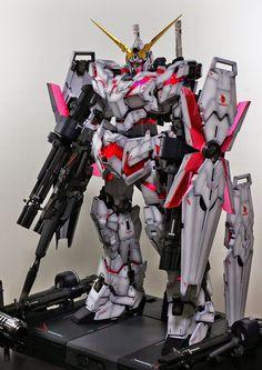 GUNDAM GUY: PG 1/60 Unicorn Gundam + Full Armor Part Set + LED Set - Painted Build