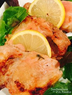 21 Day Fix Baked Chicken Thighs with Lemon and Garlic | 1 RED, 2 RSP