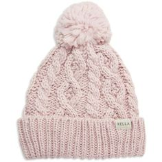Rella Cuffed Pom Hat ($48) ❤ liked on Polyvore featuring accessories, hats, pink, cable hat, cable knit hat, pom pom hat, fleece lined hat and cable knit pom pom hat