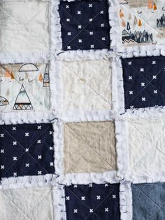 A perfect blend of tee pee's, swiss crosses & arrows can be found in this cozy handmade Tee Pee Raggy quilt for your little mister. Rag Quilt, Quilts, Keepsake Quilting, Fun Stuff, Decorating, Blanket, Bed, Cute, Handmade