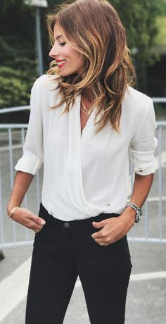 #winter #outfits white v-neck long-sleeve blouse