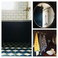 Blue cube encaustic cement bathroom tiles, antique brass mirror taps, Moroccan tiles, teak bathroom vanity, white metro tile bathroom. Bohemian vintage bathroom. Farrow ball Hague blue bathroom. House Tour: Our Blue, Brass metro tile bathroom.