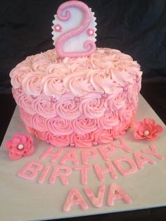 Pink ombré rose birthday cake