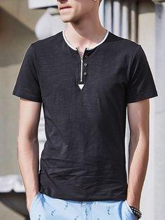 Plain Zip Decorative Buttons V Neck T-shirt #ClothingOnline #PlusSizeWomensClothing #CheapClothing #FashionClothing #womenswear #sexydress #womensdress #womenfashioncasual #womensfashionforwork #fashion #womensfashionwinter