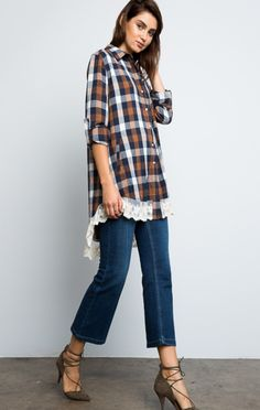 Happy Camper Plaid and Lace Flannel - ShopLuckyDuck  - 2