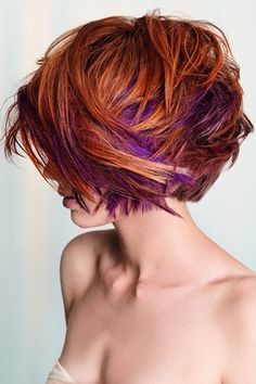 Auburn Hair With Purple Streaks Red Hair With Blonde And Purple Highlights Hair Colour Your Color idea! Red Purple Hair, Purple Hair Highlights, Red Blonde Hair, Short Red Hair, Prom Hairstyles For Short Hair, Red Hair Color, Short Hair Cuts, Cool Hairstyles, Short Hair Styles