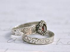 garnet engagement ring wedding ring band set by peacesofindigo, $283.00