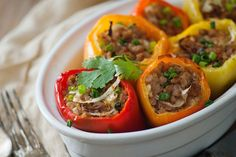 Our Asian Stuffed Bell Peppers have all the delicious flavor without the additional carbs and fat from wonton wraps and frying oil.