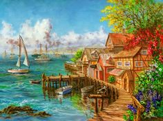 sailing boat Sea View Room landscape painting coloring by numbers DIY Hand-painted canvas painting for home decor House Painting, Diy Painting, Painting Prints, Hand Painted Canvas, Canvas Art, Canvas Prints, Canvas Size, Landscape Art, Landscape Paintings