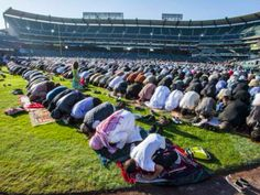 Over 15,000 Muslims gathered in the parking lot of Angel Stadium on Monday morning to celebrate Eid al-Adha