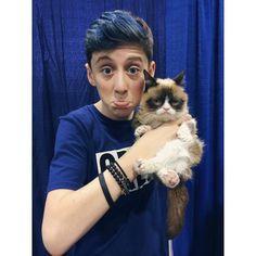 Trevor Moran with grumpy cat