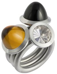 Swivel ring with a combination of steel and coloured gems by Hans-Hermann Lingenbrick.