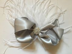 Silver Grey Satin Bow Fascinator. Silver Feather Bow, Burgundy,Ivory Satin Bow Feather Clip.Communion Hair Bows,Flower Girl. by FancyGirlBoutiqueNYC on Etsy