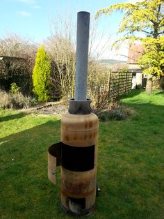 Ryan's fantastic recycled empty gas bottle chiminea. Will upload photo of it lit soon.