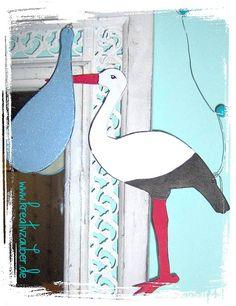 Storch zur Geburt basteln und schenken - gratis Bastelvorlage: http://kreativ-zauber.de/storch-zur-geburt