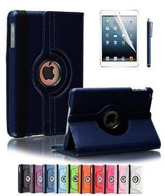 360 Degrees Rotating Stand PU Leather Case for Apple iPad Air 2-(Dark Blue)