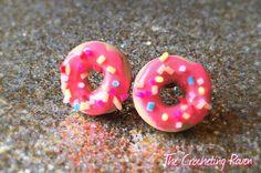 Cute donut stud earrings medium by TheCrochetingRaven on Etsy