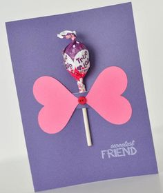 Make and give this Sweetest Friend Lollipop Card to that special friend on Valentine's Day. Cute Valentine Ideas, Valentines Day Gifts For Him, Valentine Day Crafts, Kids Valentines, Craft Gifts, Diy Gifts, Diy Presents, First Grade Crafts, Holiday Crafts For Kids
