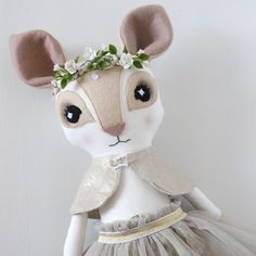 Hand Moulded Floral Circlet, Paillette & Tulle Fenella Fawn - Thicket & Thimble