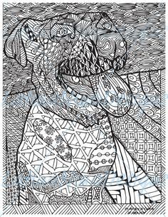 Zentangle Dog Adult Coloring Page Instant By LatinaNinaDesigns Here Is My George Turned Into