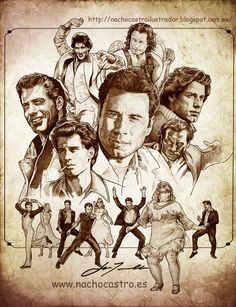 """john Travolta,illustration from the book """"men of Hollywood"""". John Travolta, Cool Pencil Drawings, Learn To Sketch, Urban Cowboy, Famous Cartoons, Writers And Poets, Celebrity Drawings, Portraits, Hollywood Icons"""