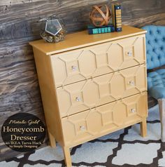 This beautiful art deco inspired metallic gold honeycomb dresser is an amazing hack of the IKEA Tarva dresser.