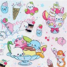 mamegoma   cute Mamegoma seal ice cream glitter San-X sticker 1