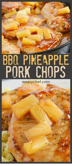 These skillet BBQ Pork Chops with Pineapple are a delicious dinner you'll want to remember for busy nights! These skillet BBQ Pork Chops with Pineapple are a delicious dinner you'll want to remember for busy nights! Bbq Pineapple, Pineapple Pork Chops, Hawaiian Pork Chops, Barbecue, Bbq Pork, Pork Ribs, Easy Pork Chop Recipes, Healthy Recipes, Pork Recipes For Dinner