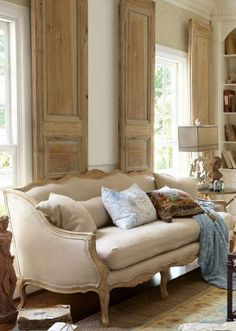 Love the interior shutters Belle Bergere Sofa from Soft Surroundings French Decor, French Country Decorating, Swedish Decor, Beige Living Rooms, Living Room Decor, Dining Room, Dining Table, Easy Home Decor, Cheap Home Decor