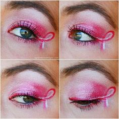 October 2016 is the breast cancer walk gotta rock this pink ribbon eye makeup Breast Cancer Walk, Breast Cancer Support, Breast Cancer Awareness, Cheer Makeup, Pink Games, Pink October, Pink Out, Childhood Cancer Awareness, Hair And Nails