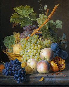 Title: Still Life with Basket of Grapes and Peaches, 1809 Artist: Jan Frans van Dael Medium: Hand-Painted Art Reproduction