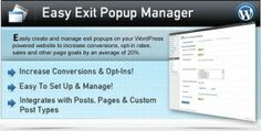 Easy Exit Popup Manager is a great plugin that helps website designers to create and manage exit popups on their website or blog. It is friendly with all modern browsers, laptops and computer system.  Check it now at : http://nulledirectory.com/codecanyon-easy-exit-popup-manager-wordpress/