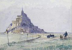 Peter Moffat Lindner Le Mont St Michel, Medieval, Art Aquarelle, Saint Michael, Watercolor And Ink, Marines, Paris France, Watercolors, March