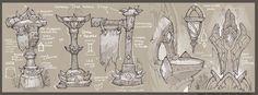 ArtStation - World of Warcraft - In game Prop Studies, Gabe Gonzalez World Of Warcraft Game, Warcraft Art, Game Design Document, Casual Art, Game Props, Game Concept Art, Prop Design, Paper Drawing, Building Art