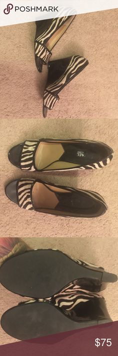 Michael Kors zebra print pony hair wedges Michael Kors zebra print pony hair wedges. Patent leather on wedge and edges. Shoes Wedges