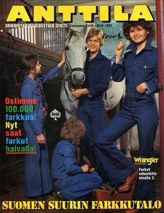 Farkkuvaatteita kolmelta suomalaiselta valmistajalta  v. 1975 Anttilan luettelon kannessa (70-luvulta, päivää ! -blogi)