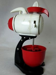 Vintage 1950 S Ideal Mechanical Childs Wind Up Toy Mixer Kitchen