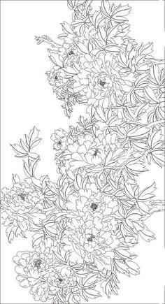 рисунок пионы Korean Painting, Chinese Painting, Fabric Painting, Painting & Drawing, Colouring Pages, Coloring Books, Silk Art, Korean Art, Art Background