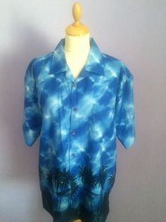 Vintage style Rockabilly Hawaiian shirt mens size L Vintage Hawaiian Shirts, 1950s Style, 1950s Fashion, Rockabilly, 1940s, Casual Shirts, Collars, Tie Dye, Women