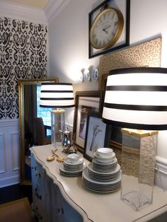 striped lamp shades