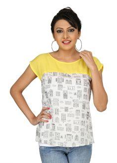 Printed colour blocked top #yellow #white #quirky #prints #womensfashion