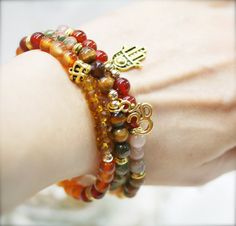 Pure bliss Om yoga bracelet x 3 2nd Naval Chakra by sophinegiam, $36.00