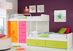 Unusual staggered bunk beds with underbed storage drawers, wardrobe & even more drawers