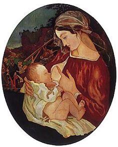 "Takuya Tsukahara ""101 Madonnas"" Madonna nursing the Child - Kazimierz Sichulski, 1917 oil on wood, 70,7 x 58,8 cm, private collection, Czestochowa, 6 Apr. 1990"