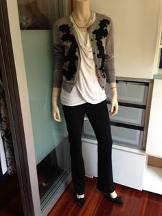 Love the Sleeveless Overlay Tee from CAbi. Paired here w/ the CAbi Trouser (ponte knit, zipped in back for that smooth look) & the Applique Cardigan, which is just adorable. Perhaps more of an office look?