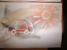 tajný obrázek :-) nakresleno svíčkou, dítě potom přes to maluje vodovými barvami - obrázek vystoupí