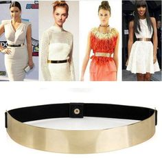 Slim Elastic Metallic Bling Simple Band Gold Plate Metal Waist Belt